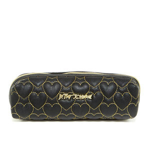 BETSEY JOHNSON QUILTED  LONG COSMETIC BAG BLACK